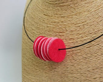 Hand made choker necklace made of pink circles