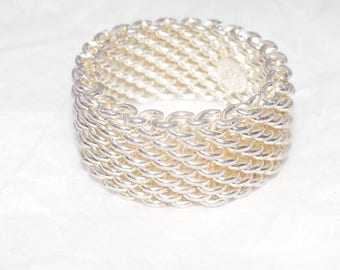 Unique Tiffany & Co Sterling Silver Somerset Mesh Ring Size 7 - 7.5 Like New!