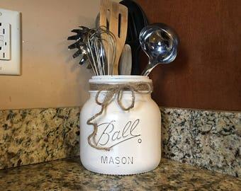 half gallon utensil holder, mason jar utensil holder, mason jar kitchen storage, kitchen utensil holder, rustic utensil