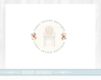 Furniture Logo Design, Boutique Logo, Decor Logo, chair logo, vintage logo, stamp logo, floral logo, watercolor logo
