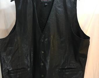 Vintage Men's Black Leather Vest, Wilson's The Leather Experts, XXL