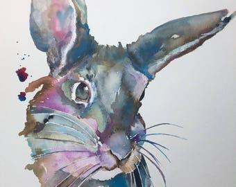 Original Acrylic Ink Painting- rabbit