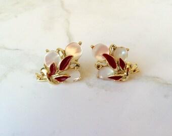 Floral style screwback earrings with moonglow lucite-vintage earrings