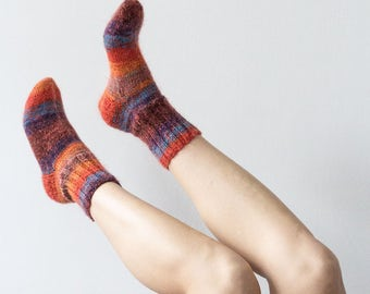 Bright Hand Knitted Wool Socks