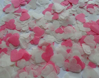 Flamingo Pink and Ivory Biodegradable Tissue Paper Confetti Hearts Wedding Party