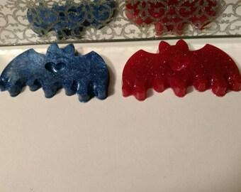 2 Kawaii Drippy Heart Bats - Resin Cabochons