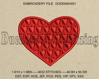 Heart Embroidery Design, Hearts in Heart Embroidery Design, Heart Embroidery File, DODEMSH001
