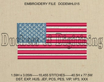 US Flag Embroidery Design, US Flag Embroidery File, Flag Embroidery Design, Flag Embroidery File,  DODEMHL015