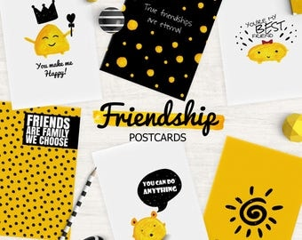 Postcard Set, Friendship Postcards, Best Friends, Yellow Postcards, Funny Postcards, Instant Download