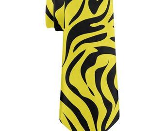 Yellow Zebra Stripes All Over Neck Tie