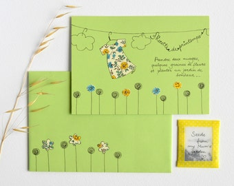 "Greeting card, original collage, ""Spring Recipe"", postcard with envelope, paper collage, handmade card, ink illustration"