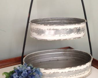 Farmhouse distressed painted metal two tier tray caddy