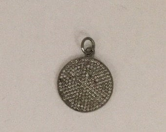 Pave white topaz Sterling silver pendant