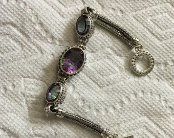 Mystic topaz sterling silver bracelate