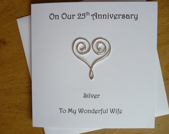 25th Wedding Anniversary card - Silver Wedding - husband - wife- Mum and Dad