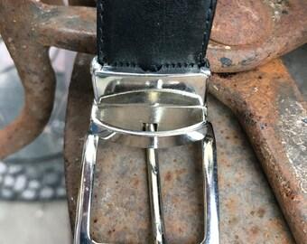 Italian Leather Belt/Vintage 1985/Black Leather/Men's Leather Belt/XL