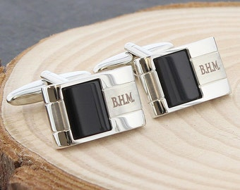 Personalised Onyx Cufflinks, Personalised Cufflinks, Custom Engraved Cufflinks, Groomsman Gift, Gift for Grooms, Father of the Bride, Dads