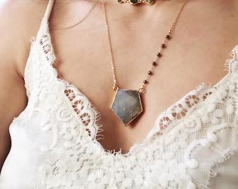 Sale Labradorite arrow chain |  Boho necklace | Arrow gem | Gold filled necklace | Bohemian Gypsy gift | chocker festival