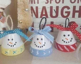 Christmas Home Decor, Snowman Clay Pots, Snowman Decor, Ornaments, Terra Cotta Pot.