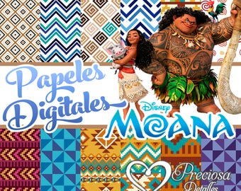 12. digital papers Moana Tribal 12 x 12 Jpeg + 12 Extra