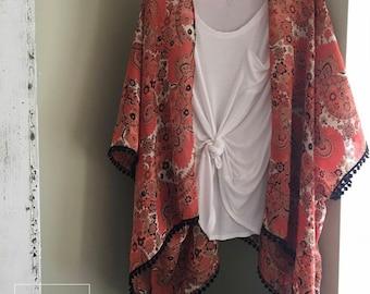 Vintage inspired floral kimono