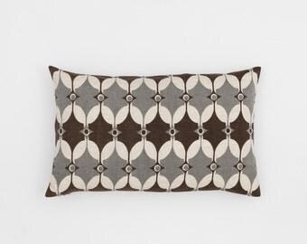 Selin Handscreen Printed Cushion Cover - Pigeon Grey / Chocolate Brown 30x50cm