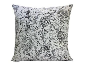 Naar Handscreen Printed Floor Cushion Cover - Black Floor Cushion 75x75cm