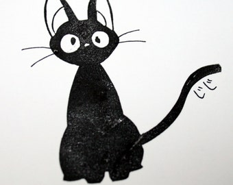 JIJI, Original Lino Print, Studio Ghibli