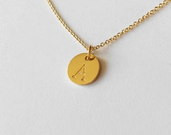Golden Initial Necklace,  Letter charm disc, Golden chain necklace for Best friend, Personalized Initial,BFF Gift