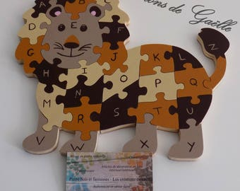 Alphabet wooden puzzle, in the shape of lion