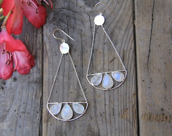 Saorasa Earrings, Moonstone Earrings, Sterling Silver Earrings, Boho Earrings, Gypsy Earrings, Dangle Earrings, Sunsara Jewellery