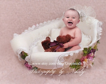 Newborn digital backdrop Newborn photography | Newborn props | Newborn infant background boys & girls baby cradle
