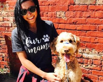Unisex Tri-Blend V-Neck T-Shirt Fur Mama Cursive Text - Dog Mom Shirt - Dog Mama