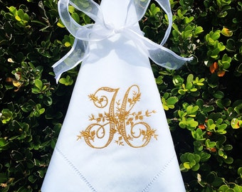 Monogrammed Hemstitched Linen Napkins, Set of 4 +