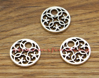 20pcs Small Scroll Flower Charms Antique Silver Tone 15x15mm cf0819