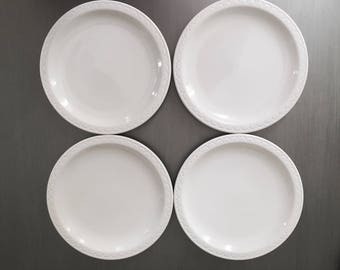 Four Syracuse China White Ironstone Dinner Plates