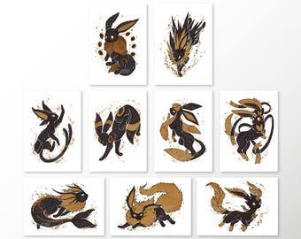 Gilded Eeveelutions Series: 9 Print Set [5x7 & 8x10 PRINTS]