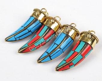 Round Pendant,Brass Pendant,Ornate Indian Pendant,Horn Pendant,Mosaic Pendant,Boho Pendant,Bohemian Pendant,JD053-JOT