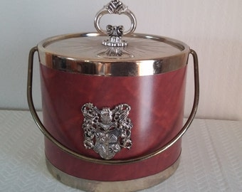 Vintage Ice Bucket, 1960's Vintage Ice Bucket, Coat of Arms Ice Bucket, Vintage Leather Ice Bucket