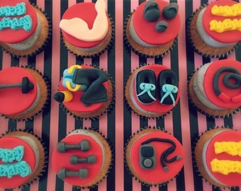 Gym Themed Happy Birthday Cupcake Toppers