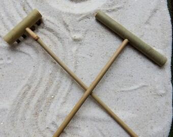 Zen Garden Rake, 4 Tine Rack and Flat Rack set, Miniature Tools, Tabletop Zen, Zen Accessory, Meditation, Mini Zen, Karesansui (枯山水)