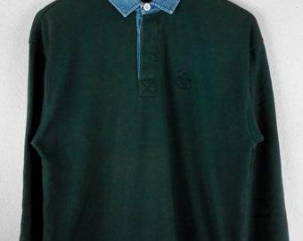 RARE!!! Nautica Small Logo Dark Green Colour Button Down Polos Long Sleeve T-Shirts Hip Hop Swag L Size