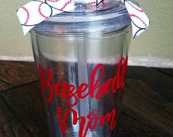 Baseball/Softball Mom Tumbler with Jersey Number within baseball on reverse side | 16 oz. |Clear Double Wall Tumbler Cup with Lid and Straw