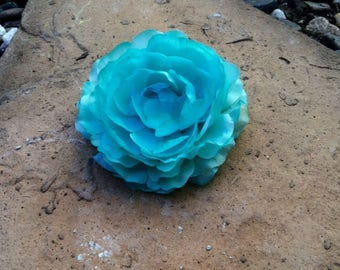 Turquoise open rose silk flower hair clip
