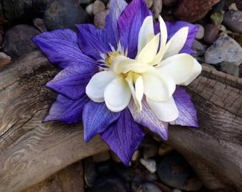 White Plumerias Blue Tropical Flower silk flower hair clip