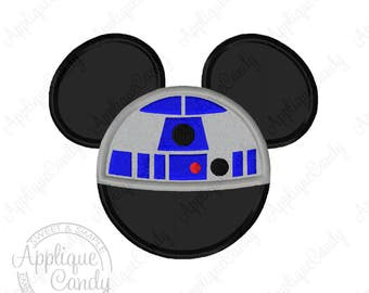 Mr Mouse Robot R2D2 Applique Machine Embroidery Design 4x4 5x5 5x7 6x10 8x8 Star Wars INSTANT DOWNLOAD