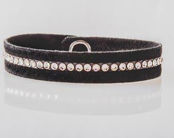 Swarovski Leather Bracelet/ Women's Leather Bracelet/ Soft Leather Bracelet in Black