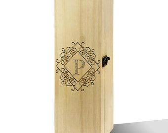 Personalised Diamond Initial Plain Luxury Wooden Wine Box