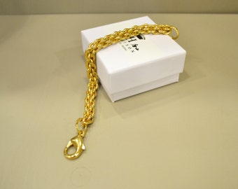 Soft knitted silver chain bracelet gold plated