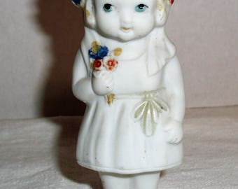 Vintage Bisque Doll.   Frozen Charlotte.  Painted Bisque Doll.  Made in Japan Bisque Doll.